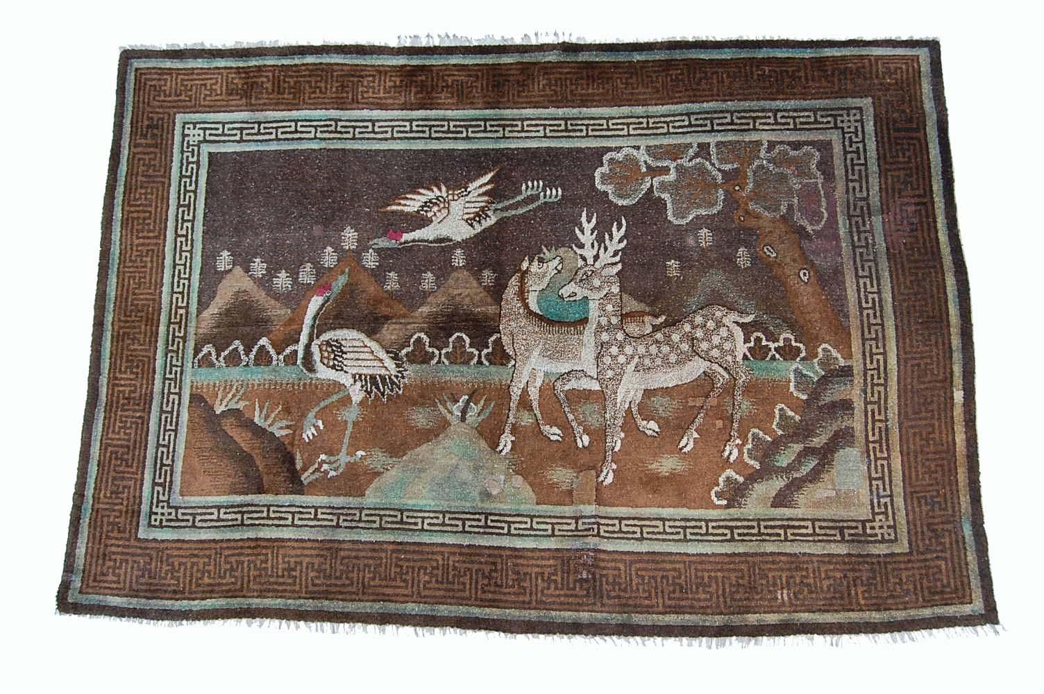 Antik China Tier MotivTeppich 243×166 Orientteppich rug
