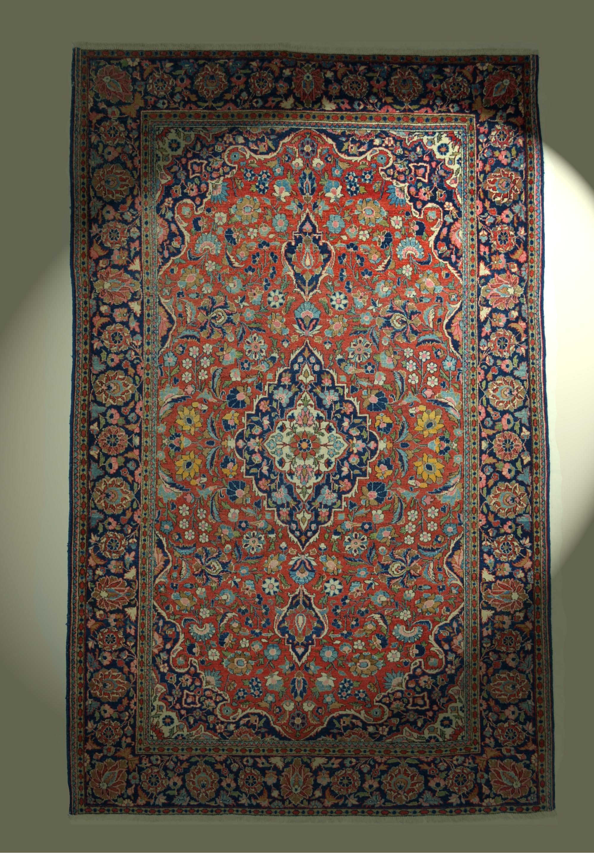 antik keshan orient teppich pflanzenfarben kashan rug tapis tappeto 202x126 cm ebay. Black Bedroom Furniture Sets. Home Design Ideas